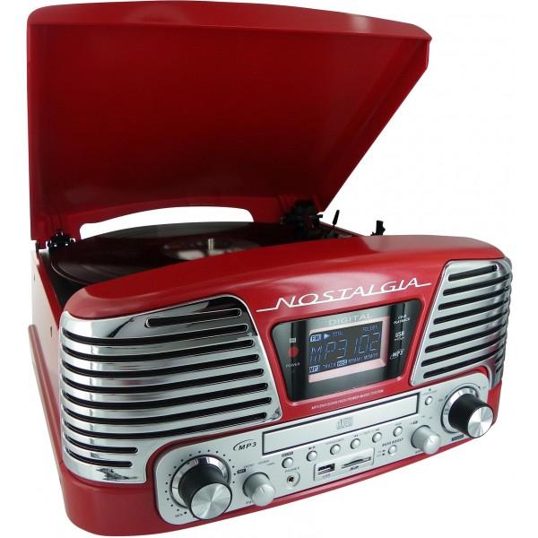 tourne disques radio cd encodeur mp3 rouge metal jeuxdiscount. Black Bedroom Furniture Sets. Home Design Ideas